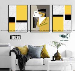 bộ 3 tranh trừu tượng góc cạnh vàng